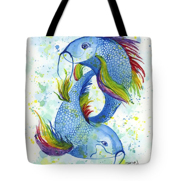 Tote Bag featuring the painting Rainbow Koi by Darice Machel McGuire