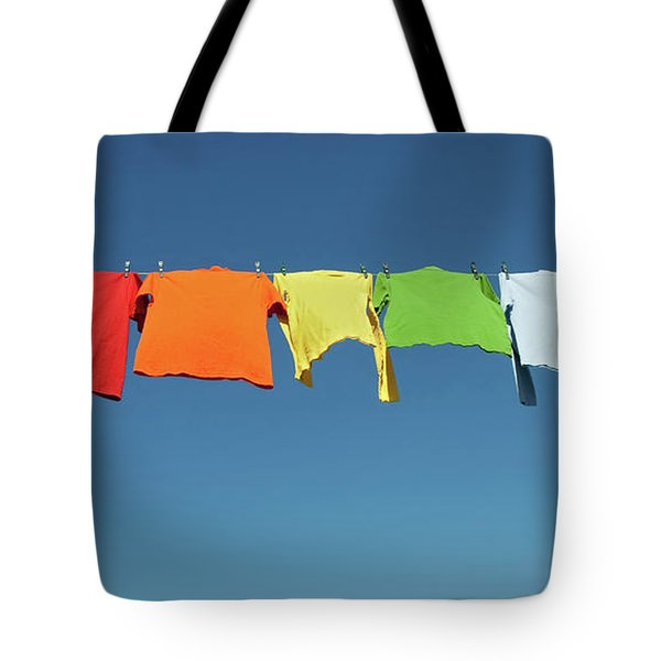 Rainbow Laundry, Bright Shirts On A Clothesline Tote Bag