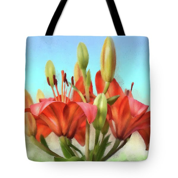 Tote Bag featuring the photograph Rainbow Lilies by Lois Bryan