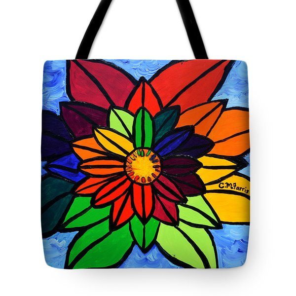 Tote Bag featuring the painting Rainbow Lotus Flower by Christopher Farris