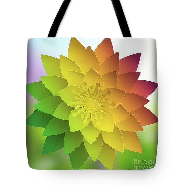 Tote Bag featuring the digital art Rainbow Lotus by Mo T