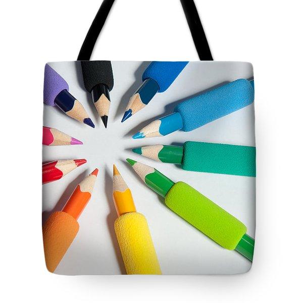 Rainbow Of Crayons Tote Bag