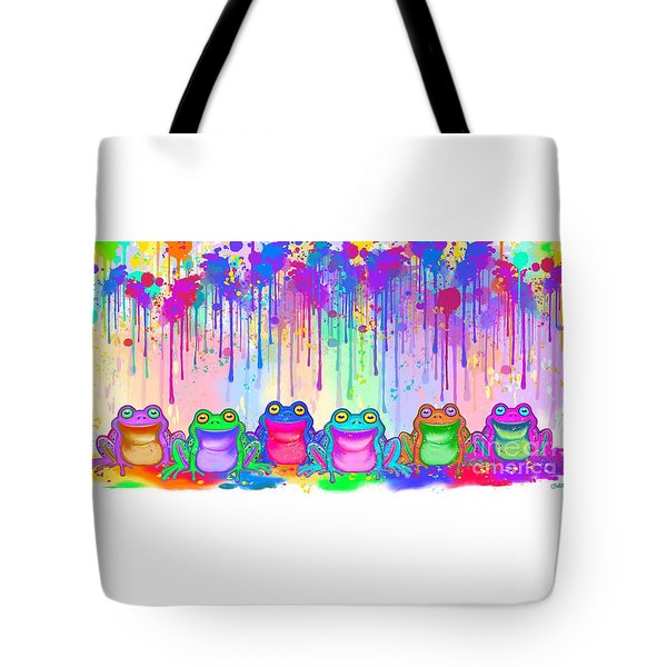 Tote Bag featuring the painting Rainbow Of Painted Frogs by Nick Gustafson