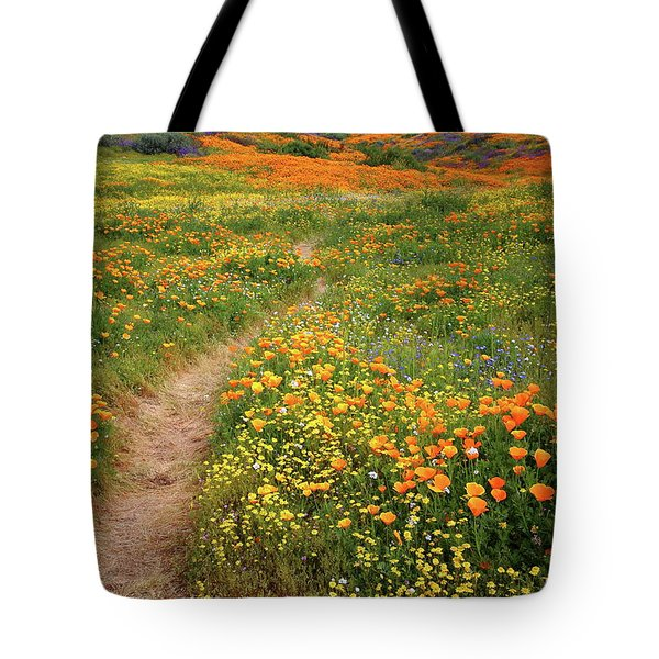 Rainbow Of Wildflowers Bloom Near Diamond Lake In California Tote Bag