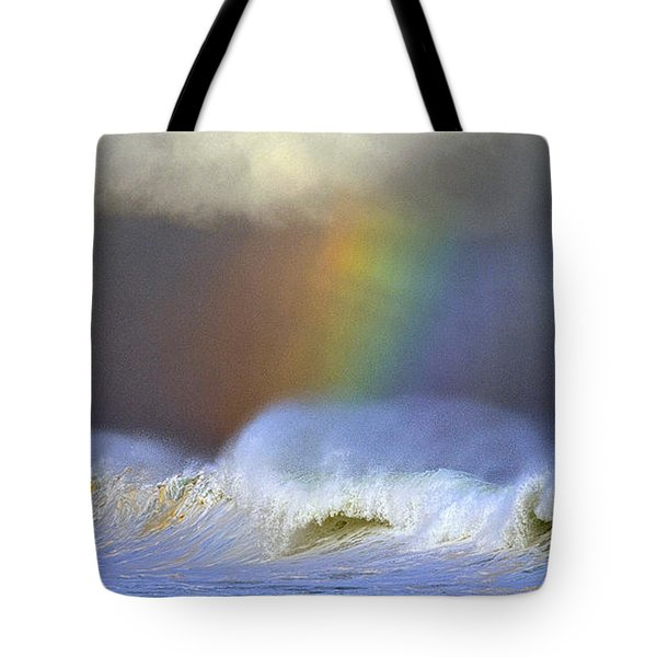 Tote Bag featuring the photograph Rainbow On The Banzai Pipeline At The North Shore Of Oahu 2 To 1 Ratio by Aloha Art