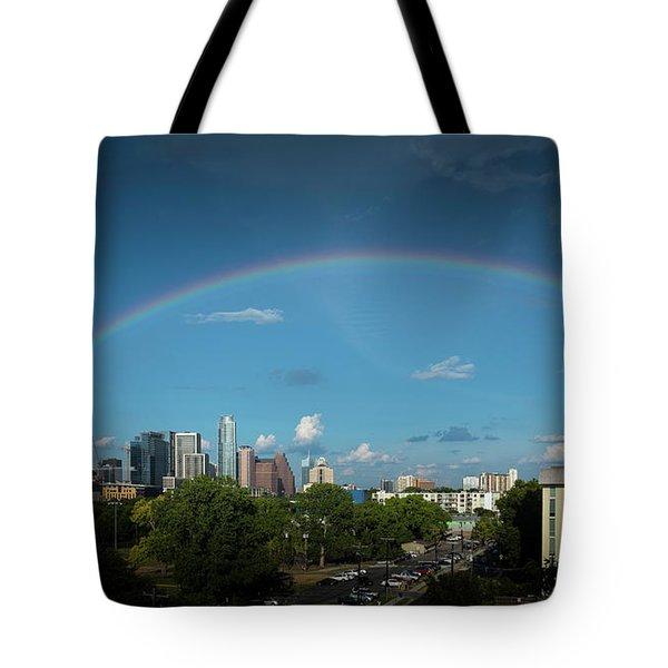 Rainbow Over Austin Tote Bag