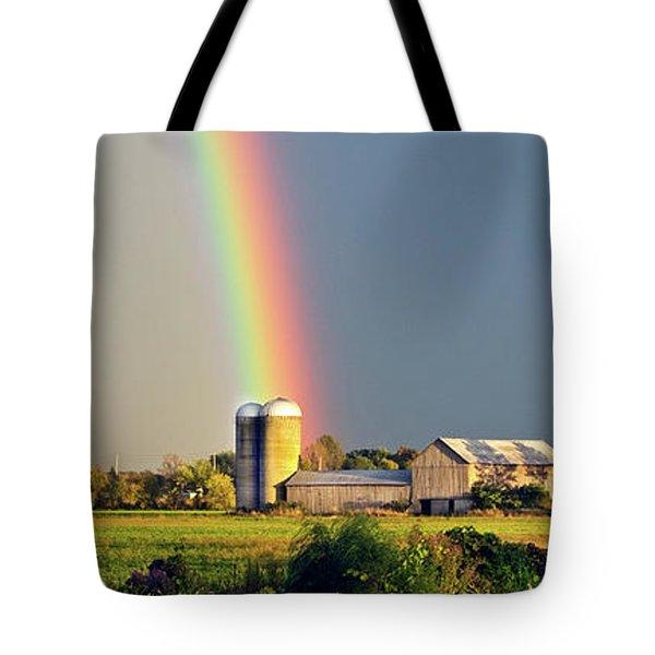 Rainbow Over Barn Silo Tote Bag