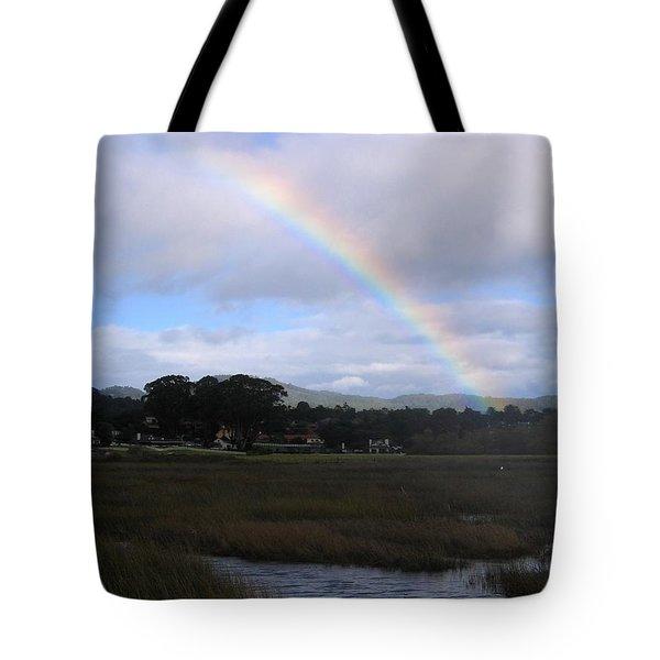 Rainbow Over Carmel Wetlands Tote Bag