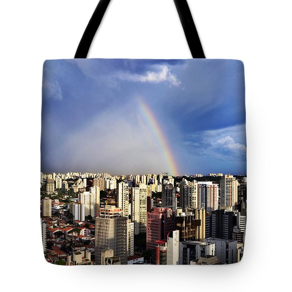 Rainbow Over City Skyline - Sao Paulo Tote Bag