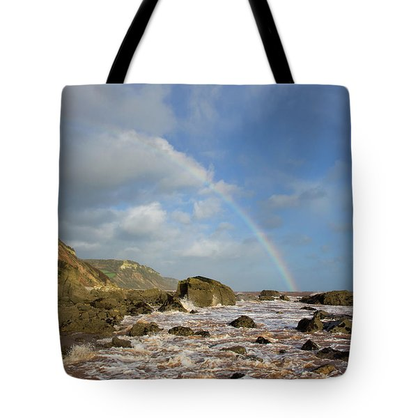 Rainbow Over Dunscombe Cliff Tote Bag