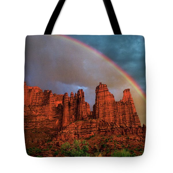 Rainbow Over Fisher Towers Tote Bag