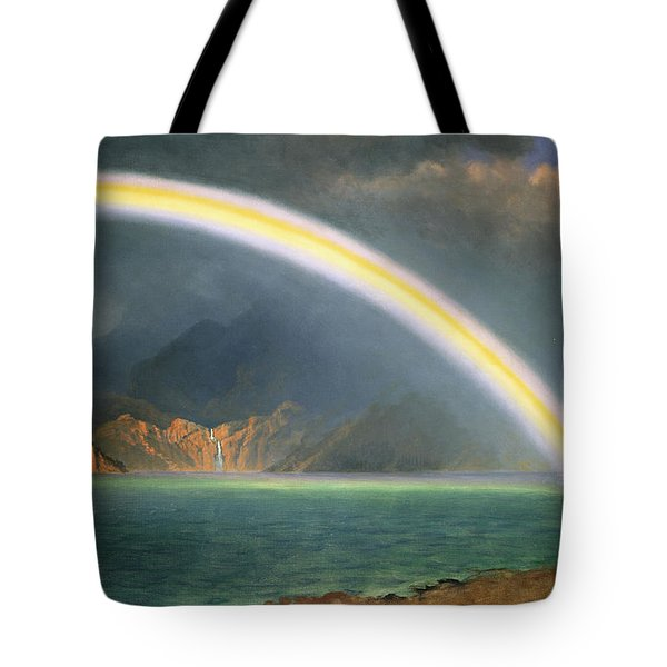 Rainbow Over Jenny Lake Wyoming Tote Bag by Albert Bierstadt