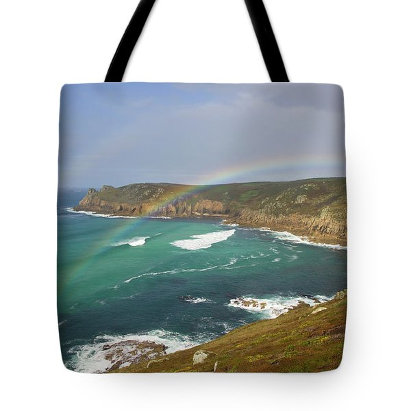 Rainbow Over Nanjizal Bay In Cornwall Tote Bag