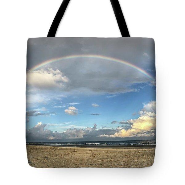 Rainbow Over Ocean Tote Bag