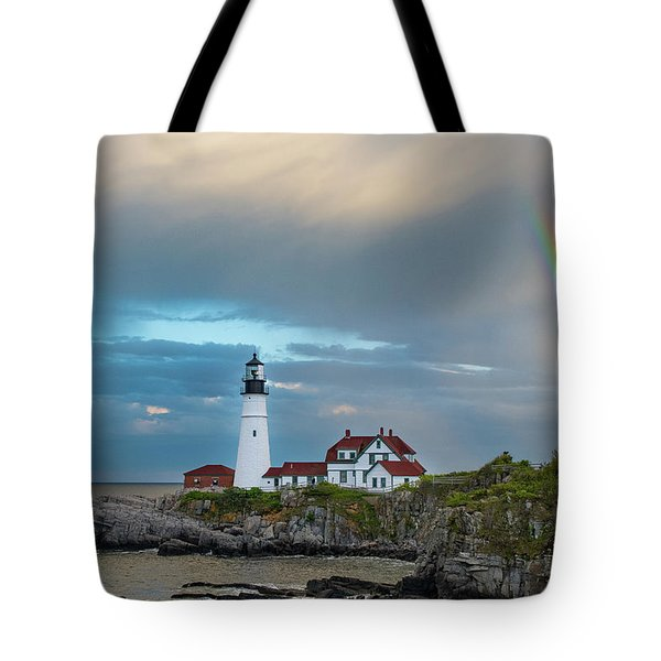 Rainbow Over Portland Head Light Tote Bag