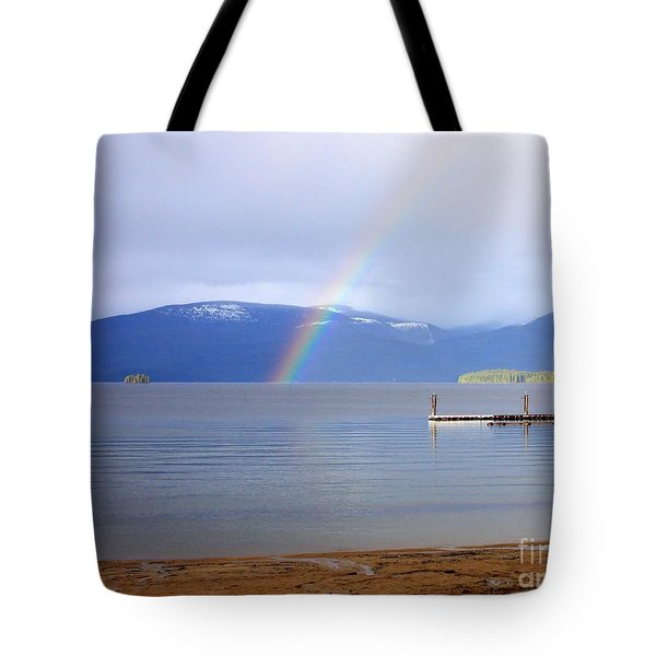 Rainbow Over Priest Lake Tote Bag by Carol Groenen