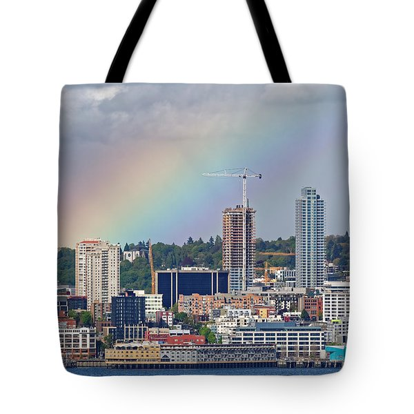 Rainbow Over Seattle Tote Bag