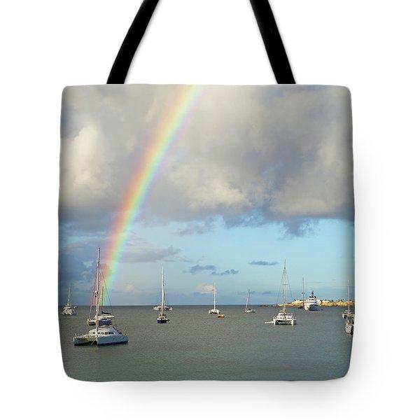 Rainbow Over Simpson Bay Saint Martin Caribbean Tote Bag
