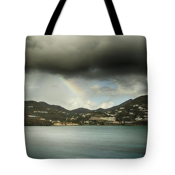 Tote Bag featuring the photograph Rainbow Over St. Maarten by Coby Cooper