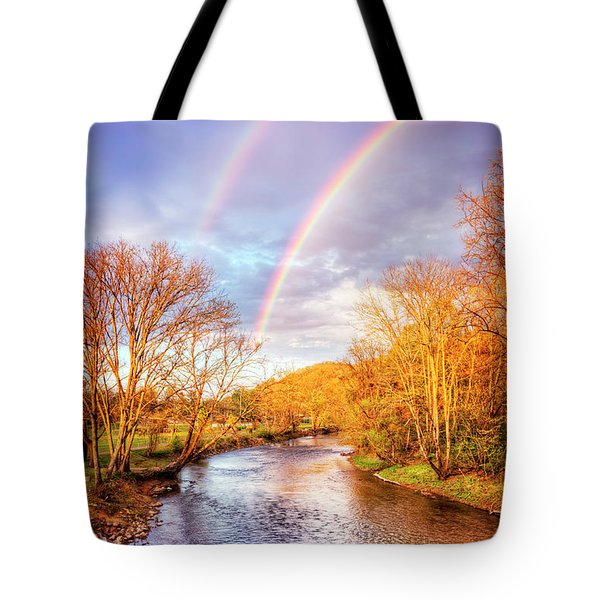 Tote Bag featuring the photograph Rainbow Over The River II by Debra and Dave Vanderlaan