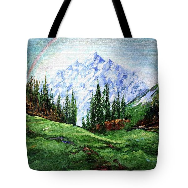 Rainbow Over The Snow Covered Mountain Tote Bag