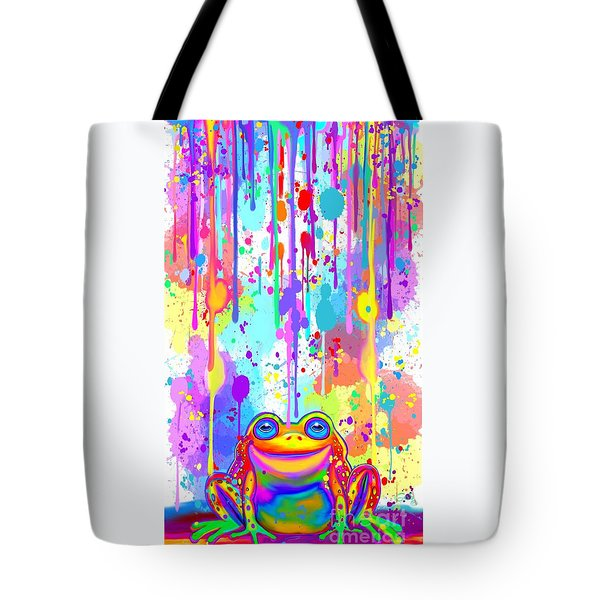 Tote Bag featuring the painting Rainbow Painted Frog  by Nick Gustafson