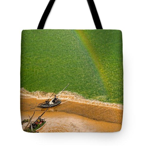 Tote Bag featuring the photograph Rainbow Rain by Kim Wilson