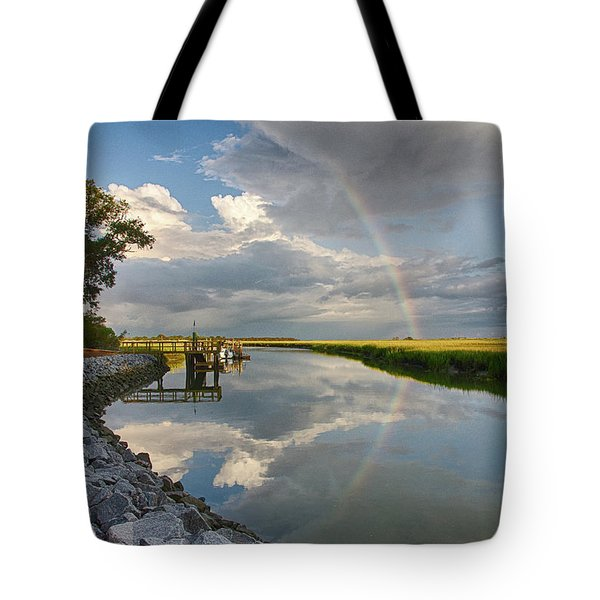 Tote Bag featuring the photograph Rainbow Reflection by Patricia Schaefer
