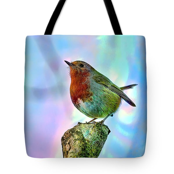 Rainbow Robin Tote Bag