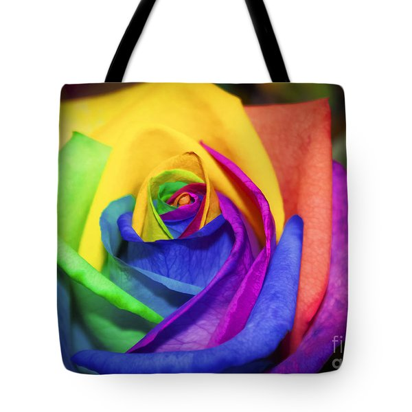 Rainbow Rose In Paint Tote Bag by Janice Rae Pariza
