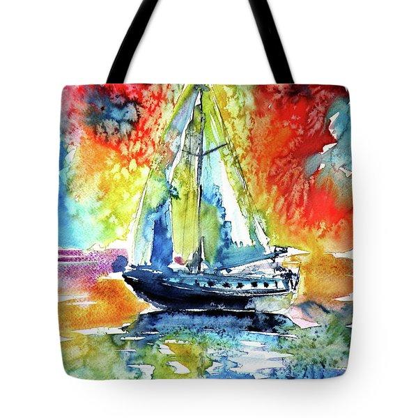 Rainbow Sailboat At Sunset Tote Bag by Kovacs Anna Brigitta