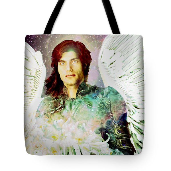 Tote Bag featuring the painting Rainbow Saint Michael by Suzanne Silvir