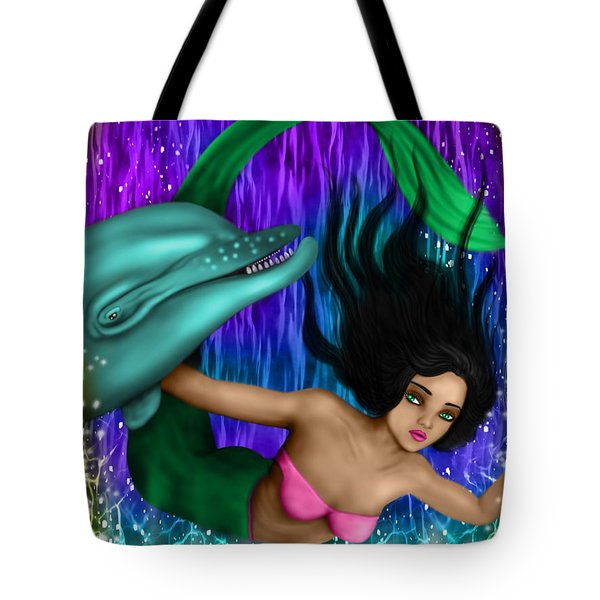 Rainbow Sea Mermaid - Fantasy Art Tote Bag