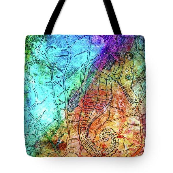 Rainbow Seahorse Tote Bag