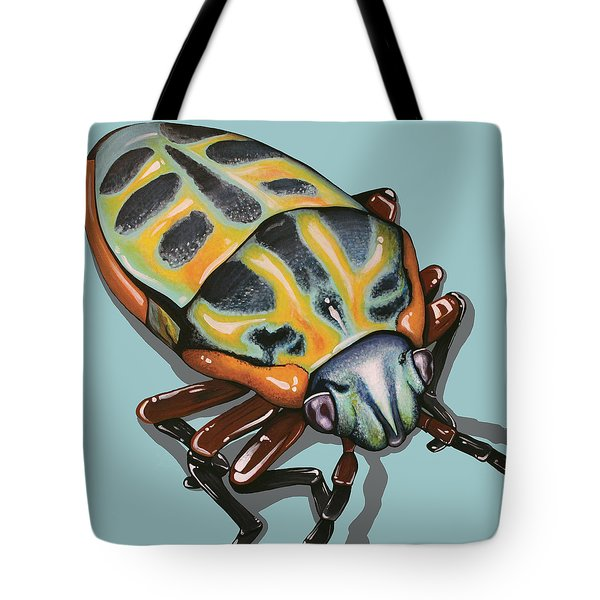 Tote Bag featuring the painting Rainbow Shield Beetle by Jude Labuszewski