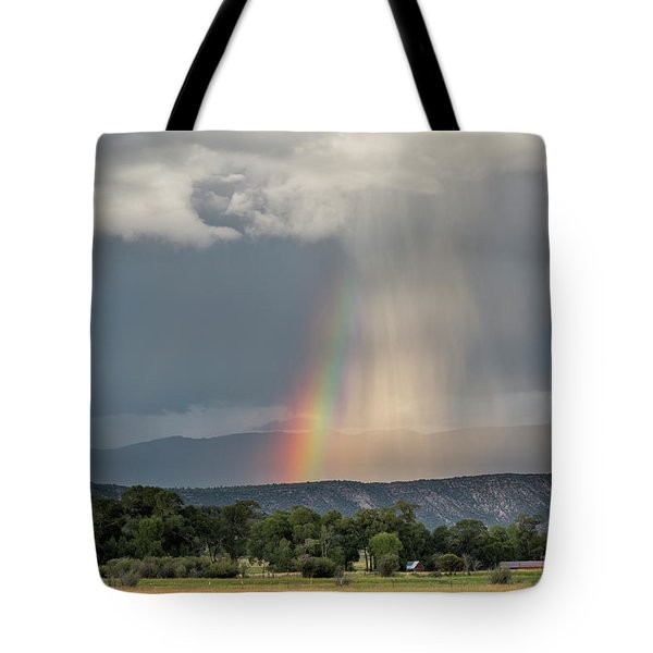 Rainbow Storm Over Log Hill Tote Bag