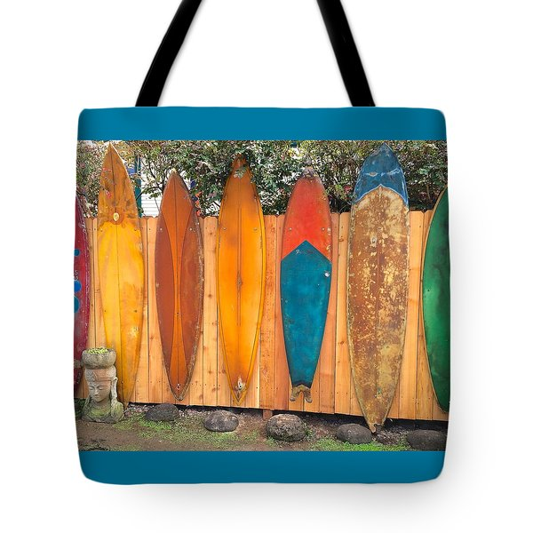 Surfboard Rainbow Tote Bag