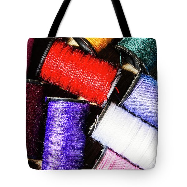 Tote Bag featuring the photograph Rainbow Threads Sewing Equipment by Jorgo Photography - Wall Art Gallery