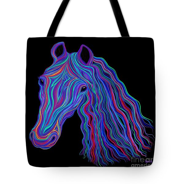 Rainbow Tribal Horse  Tote Bag