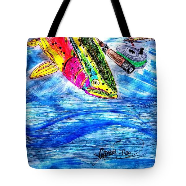 Rainbow Trout Fly Fishing Tote Bag