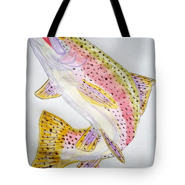 Rainbow Trout Presented In Colored Pencil Tote Bag by Scott D Van Osdol