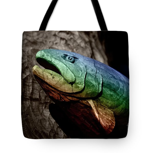 Tote Bag featuring the photograph Rainbow Trout Wood Sculpture by John Stephens