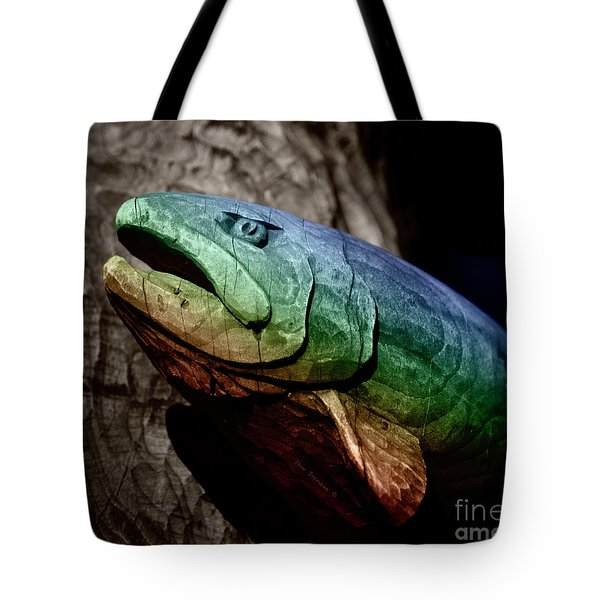 Rainbow Trout Wood Sculpture Square Tote Bag by John Stephens