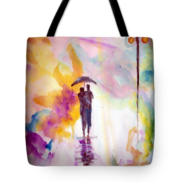 Tote Bag featuring the painting Rainbow Walk Of Love by Raymond Doward
