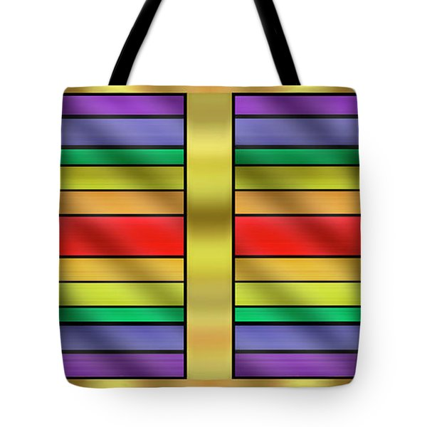Tote Bag featuring the digital art Rainbow Wall Hanging Horizontal by Chuck Staley