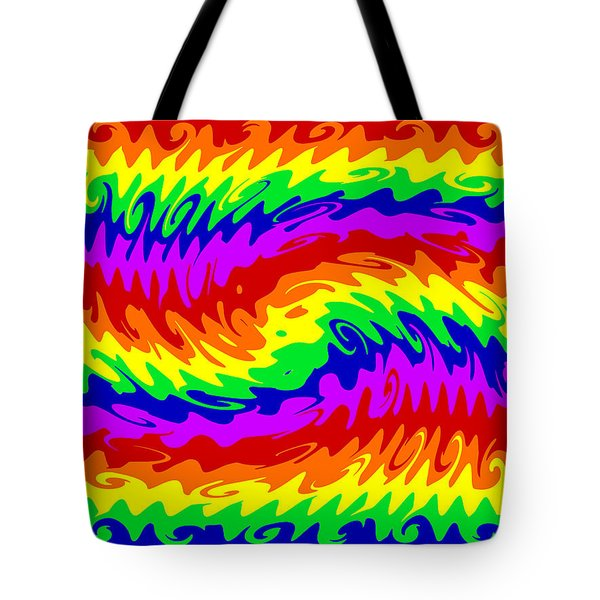 Rainbow Waves #855 Tote Bag