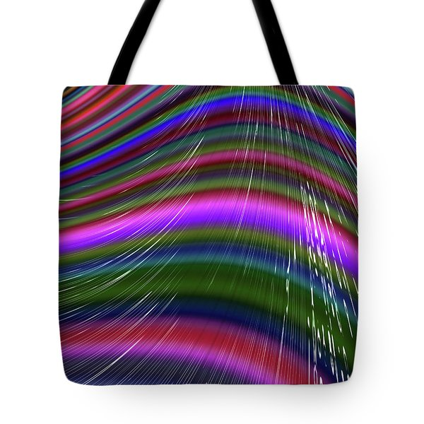 Tote Bag featuring the digital art Rainbow Waves by Becky Herrera