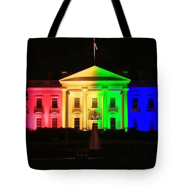 Rainbow White House Tote Bag