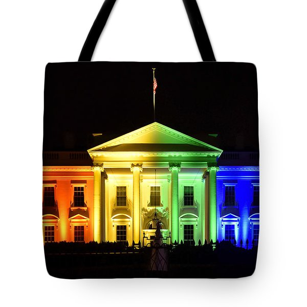Rainbow White House  - Washington Dc Tote Bag by Brendan Reals