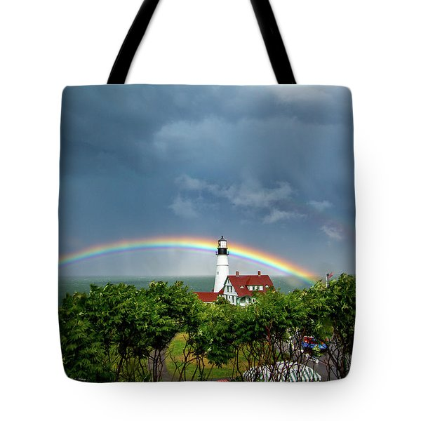 Rainbow X 2 At Portland Headlight Tote Bag